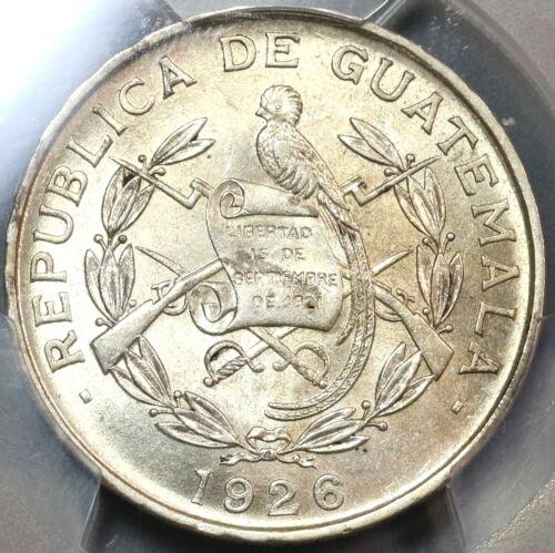 1926 PCGS MS 62 Guatemala 1/4 Quetzal Bird Silver Mint State Coin (19090504D)