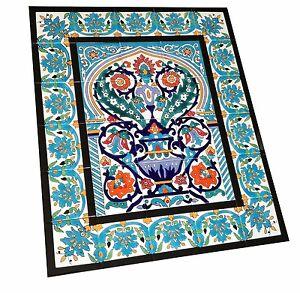 Grosses Fliesen Bild mit Bordüren handbemalte Keramik Art deco Mosaikfliese