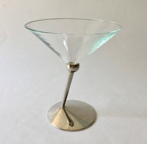 Martini Glass Beefeater Gin Angled Stem w/ Metal Base Classic Collectibles