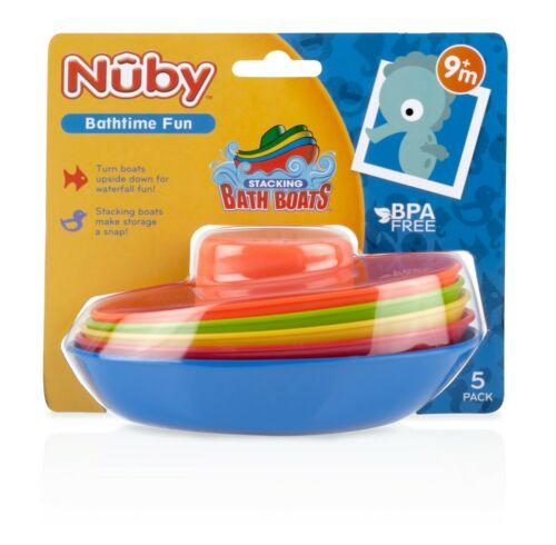 Nuby Stacking Bath Boats - 5 pack - Classic Bath Toys - Fun and Educational