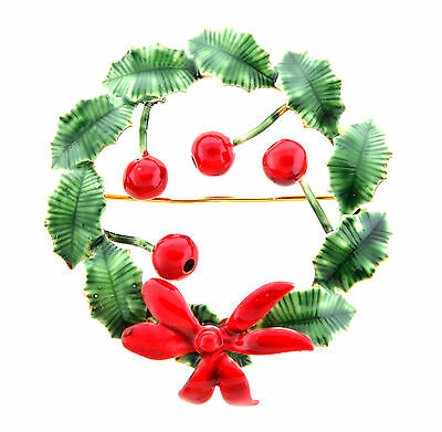 Sandor Enamel Christmas Holiday Wreath Brooch Pin Holly Berry