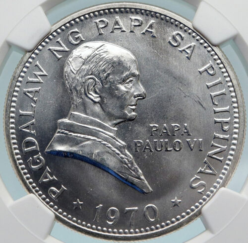 1970 PHILIPPINES Ferdinand Marcos & Pope Paul VI OLD Silver Piso Coin NGC i85061