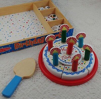 Melissa & Doug WOODEN Happy Birthday Party CAKE Pretend Candles Treats in Box (Happy Birthday Pretend Cake)