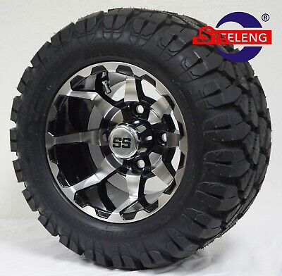 "GOLF CART 10"" VORTEX WHEELS/RIMS and 18""x9""-10"" DOT STINGER A/T TIRES (SET OF 4)"