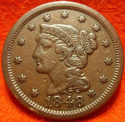 1848 XF AU BRAIDED HAIR LARGE CENT  GREAT DETAILS