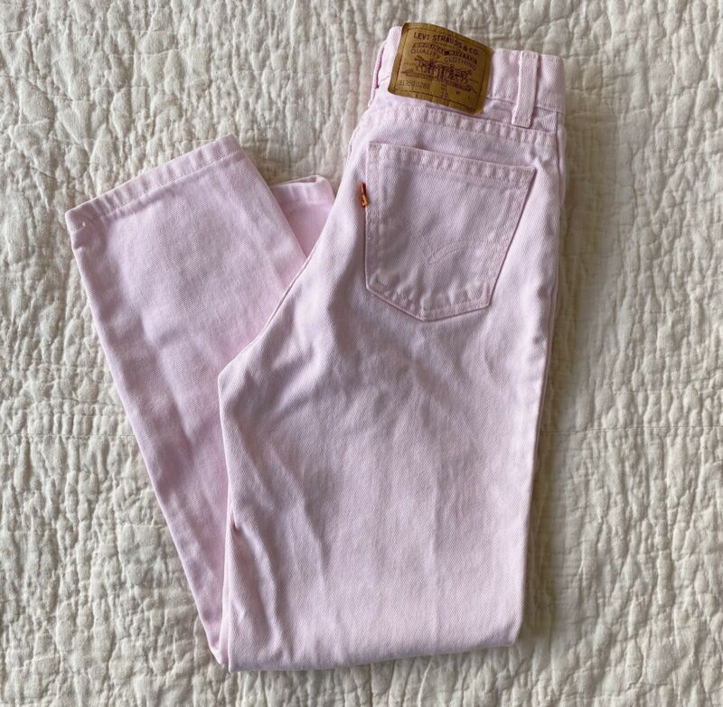 Vintage Girls Levis Jeans Orange Tab 10 Pink Denim Regular Fit Made in USA