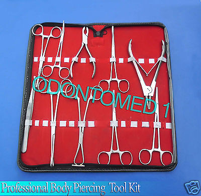 10 Pieces Professional Body Ear Piercing Navel Tools Pliers Clamps Forceps Kit