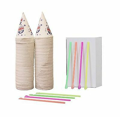 200 Snow Cone Cups 6 Oz And 200 Spoon Straws Free Shipping