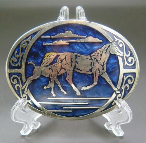 Horses Mare Foal Western Cowboy Cowgirl Scroll Vintage Belt Buckle