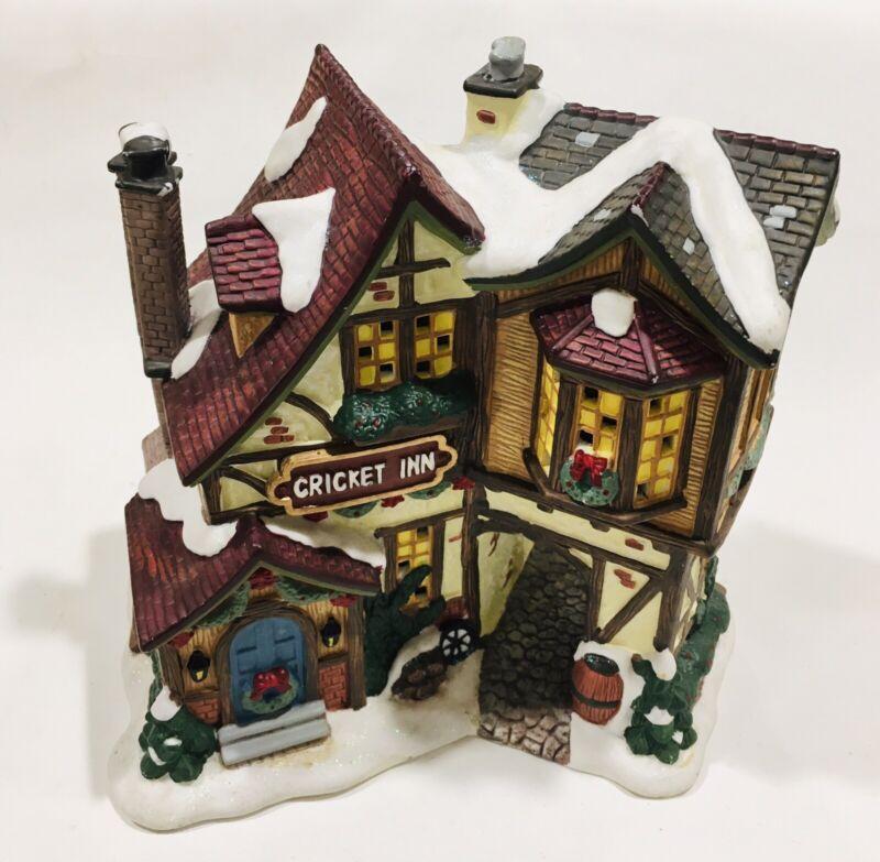 """2004 Village 7"""" Ceramic Lighted Christmas Building Cricket Inn"""