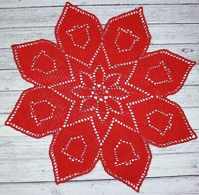 Red Christmas Crochet Doily NEW handmade