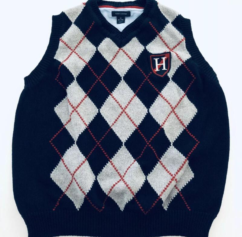 Tommy Hilfiger Boys Size Medium 12 14 Argyle V Neck Sweater Vest Holiday Church
