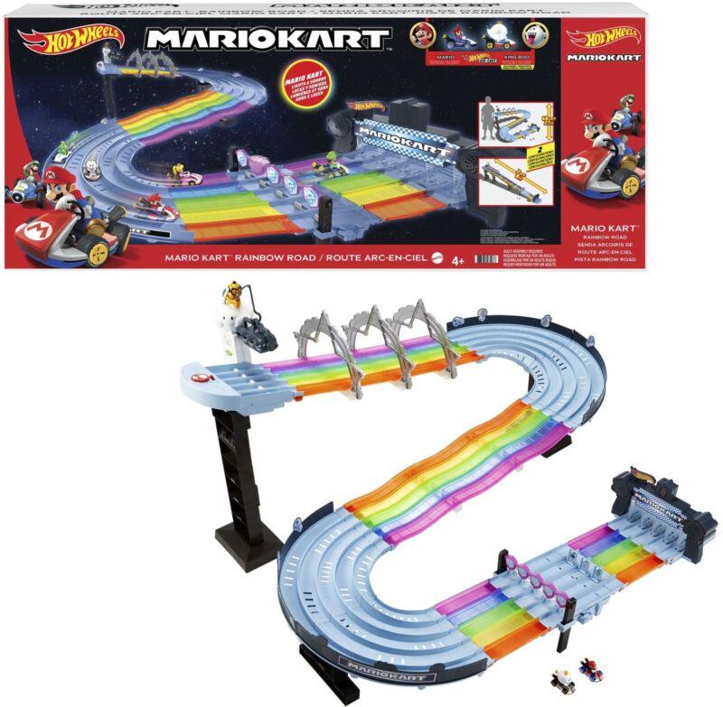 BRAND NEW: Hot Wheels Mario Kart Rainbow Road Raceway Track Set