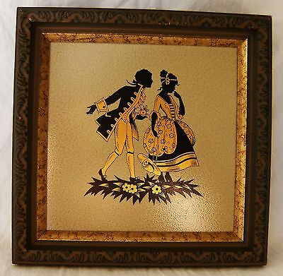 "Vintage VICTORIAN Man & Woman Gold & Black 6"" Art Tile Prof Framed In Wood"