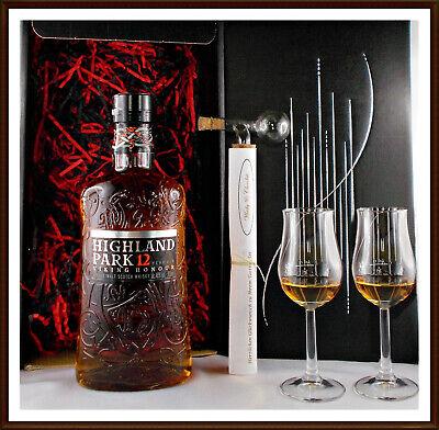 Geschenk Highland Park 12 Jahre Whisky + Portionierer groß + 2 Whiskey Gläser