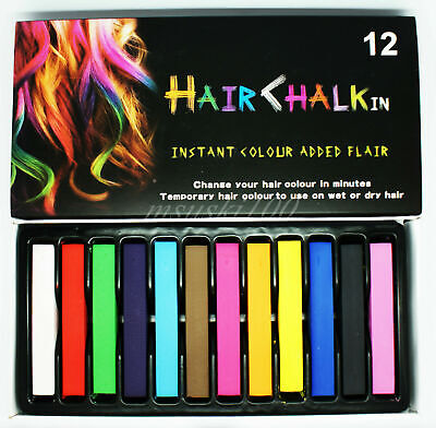 HAIR CHALK PASTEL TEMPORARY COLOR WASH OUT SETS OF 12
