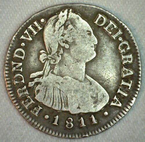 1811 P JF Colombia Silver 2 Reales Spanish Colonial Coin You Grade Nice One