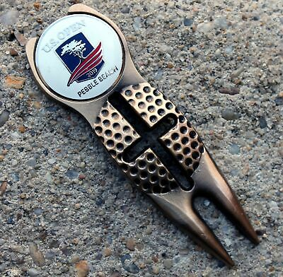 2019 US OPEN PEBBLE BEACH ANTIQUE BRASS CROSS Golf Ball Marker Divot Tool WHITE