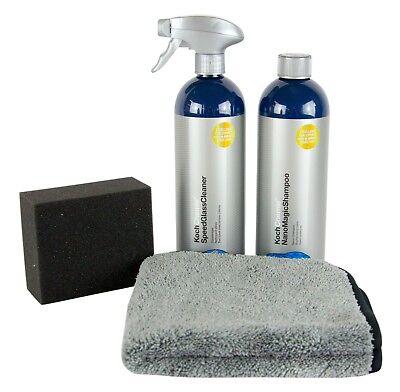 KOCH CHEMIE Nano Magic Shampoo & Glass Cleaner Glasreiniger & Schwamm & Tuch