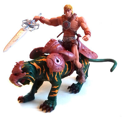 """MASTERS of the UNIVERSE 2000 HE MAN & BATTLECAT  6"""" action figures toy, motu"""