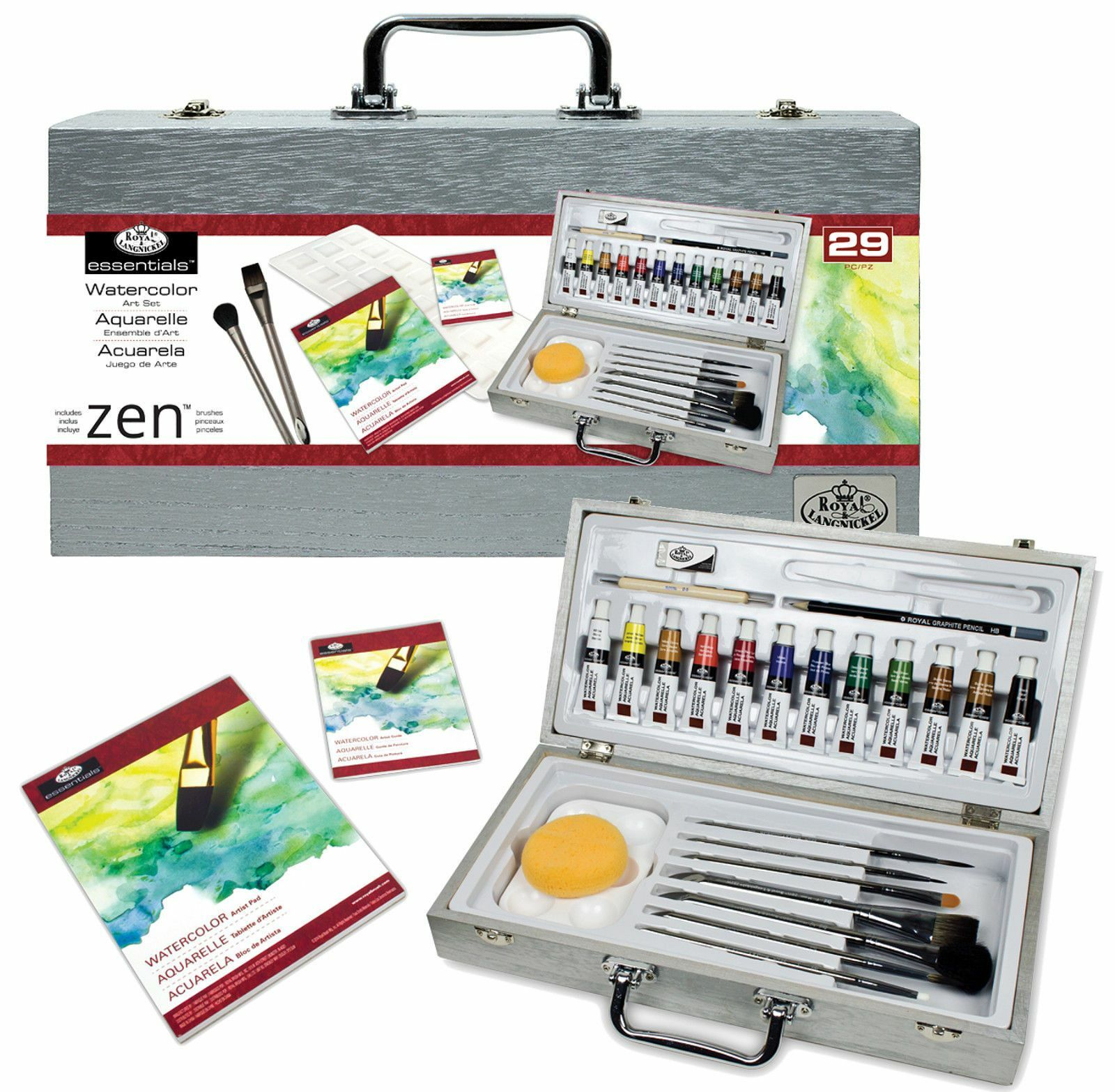 29 piece zen watercolour painting artist art box set brushes pads paints wat8301. Black Bedroom Furniture Sets. Home Design Ideas