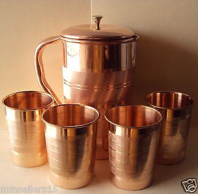 Pure Copper Handmade Jug Water Pitcher 1.5 L & 4 Glasses Tumbler 300 ml Storage