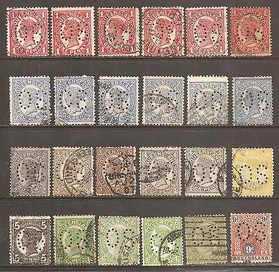 Australia Queensland official state OS perfin selection used