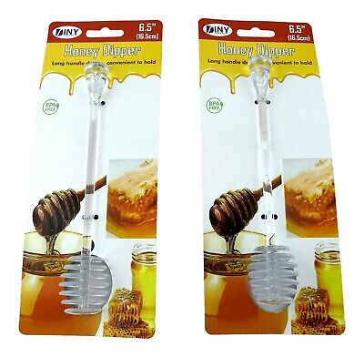 - 2 Pack BPA Free Honey and Syrup Dipper Stick Server Honey Spoon