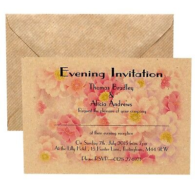Personalised Vintage Postcard Style Wedding Invitations- with envelopes