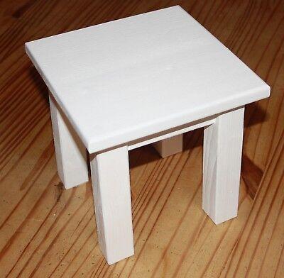 lumenbank aus Holz Hocker Fichte mit Füßen weiß, klein (Hocker Klein)