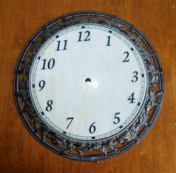 Vintage 11 Pale Marbled Wall Clock Face Ornate Antiqued Brass Frame Part