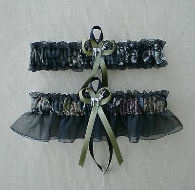 Mossy Oak Black Wedding Garter Set Camouflage Camo Deer Hunting Hunter - Camo Garter Set