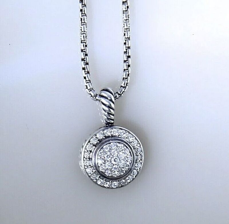 David Yurman Round Albion Pave Diamond 17' Necklace In Sterling Silver 925