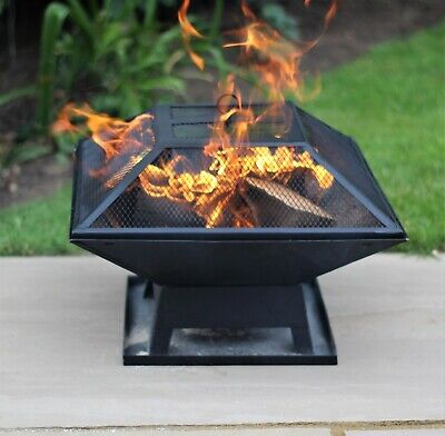 Fire Pit Table Top Square Steel Patio Garden Heater Outdoor Folding BBQ Camping