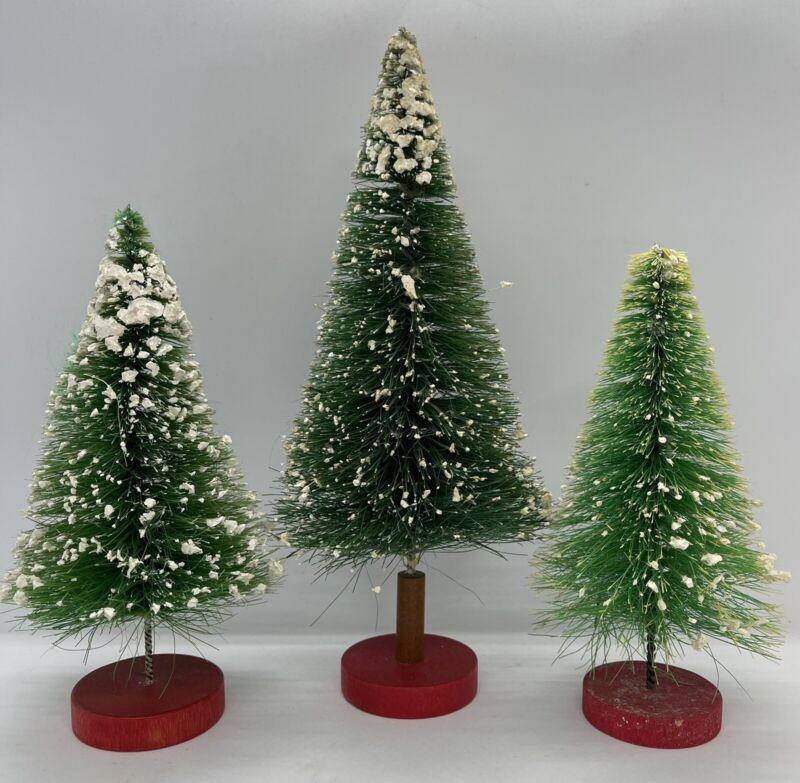 """Vintage Bottle Brush Christmas Tree Flocked 8 1/2"""" + 6 1/2"""" Set of 3 Wood Base"""