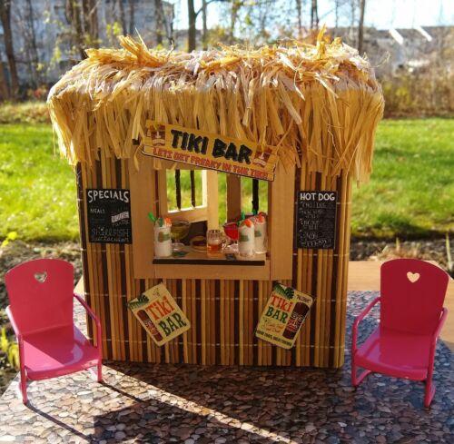 Tiki Bar Hut Miniature Hawaiian Island Luau Tropical House Beach Party Mini OOAK