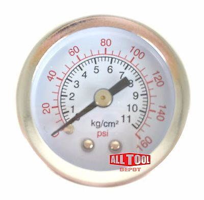 New Air Pressure Gauge Air Compressor Hydraulic 1.5 Face 0-160 Back Mnt 18npt