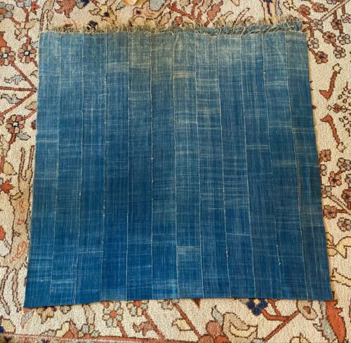 Vintage West African Hand Dyed Natural Indigo Textile Panel Wall Decor Tapestry