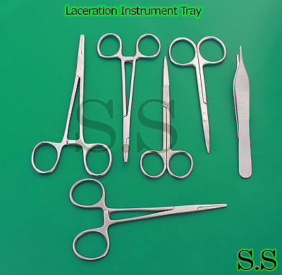Laceration Instrument Tray Six 6 Stainless Steel Instruments