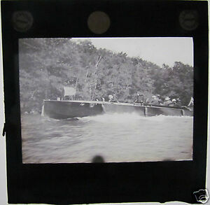 Glass-Magic-lantern-Slide-c1920-people-in-large-motor-launch-on-river-Scotland