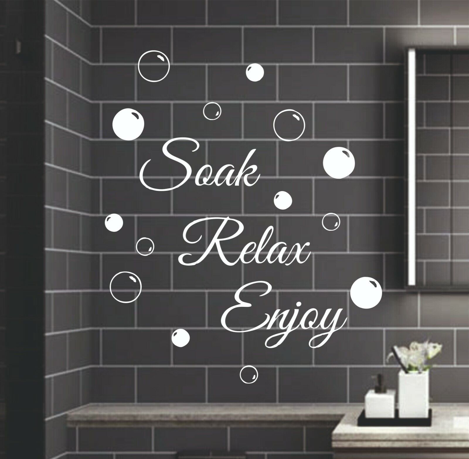 Home Decoration - Soak Relax Enjoy Wall Stickers & Bubbles Decals Bathroom Home Art Decor Small