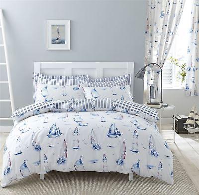 Nautisch Boote Streifen blau Doppelbett Bettwäsche & Plissee-Vorhänge