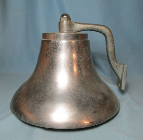 Chrome or Nickel Plated BRONZE SHIP BELL  Antique Presumed Great Lakes Maritime