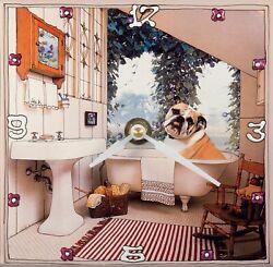 Bulldog in the tub collage on handmade ceramic tile, seiko quartz wall clock