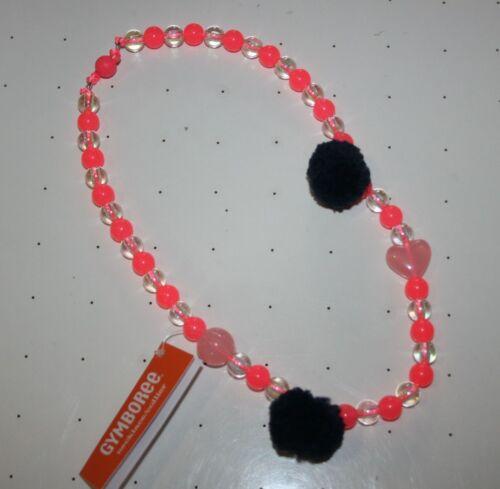 New Gymboree Polar Pink Line Pink Bead Pom Pom Heart Necklace One Size NWT