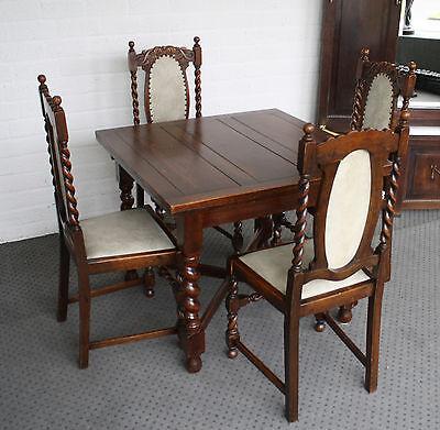 antike Sitzgruppe Tisch + 4 Stühle ausziehbar aus Eiche
