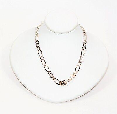 Fine 4.75mm Figaro 14kt White Gold Mens Chain Link Statement Necklace 14kt White Gold Figaro Necklace