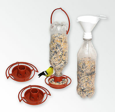 3 Hanging Wild Bird Feeders + 1 Twist-on Bird Seed Filling Funnel
