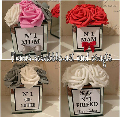 No1 Mum Mothers Day Flower Filled Mirror Vase With Roses. Mother's Day Gift.
