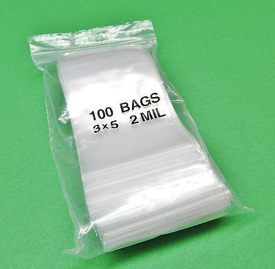 3 X 5 Ziplock Bag Clear 2mil Re-closable Bags Poly Zip Lock Seal 3x5 100 Pcs